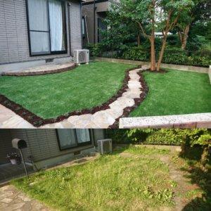 以前人工芝による防草対策工事を施工させて頂いたお客様宅の一部。ビフォーアフターです。