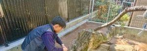 防草シートを施工する田嶋。