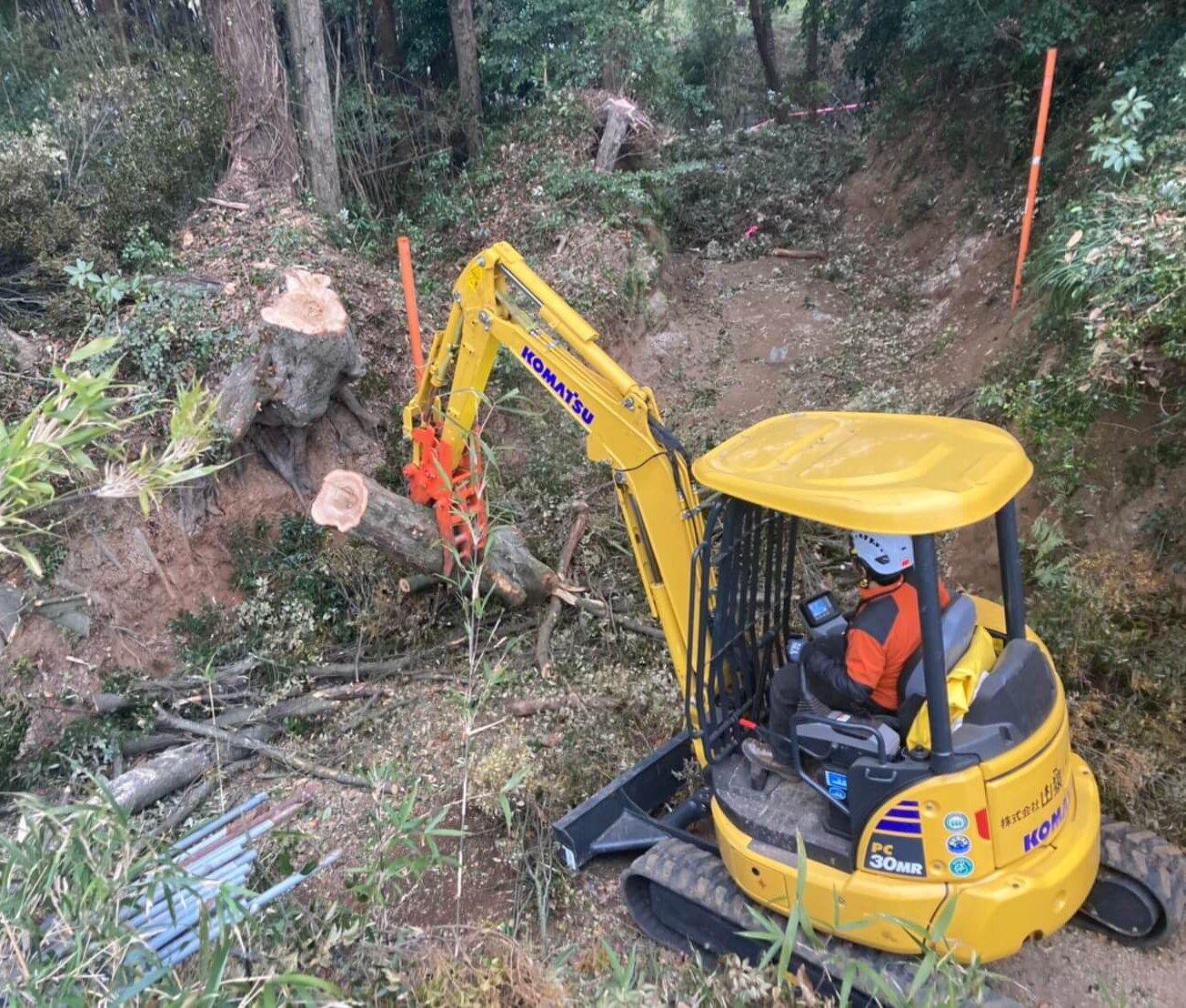 伐倒後は重機にて集材、搬出作業を行い作業は無事完了。