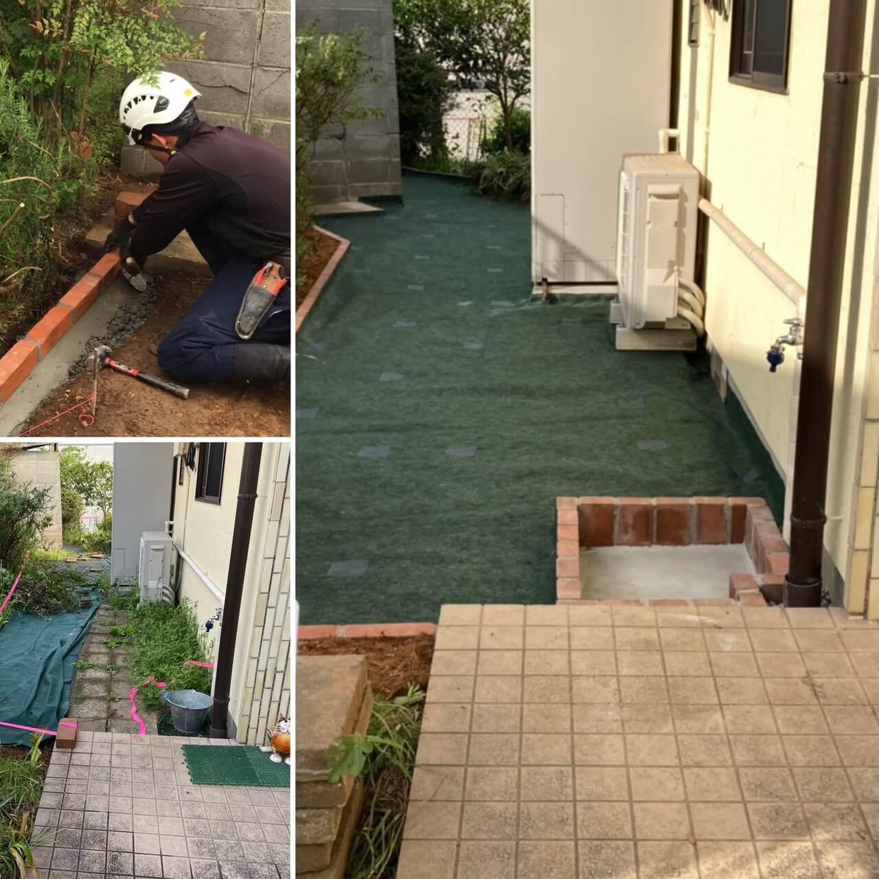 防草シートと土が接する箇所は土が入ってこないようにレンガを設置致しました。