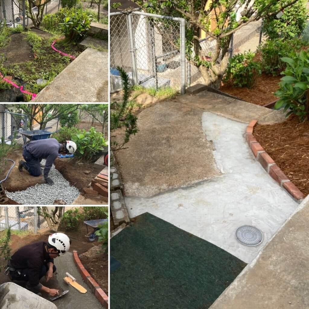 こちらも防草シートと接する箇所である土間コンクリートの施工。整地、転圧をしっかり行ってからコンクリートで仕上げます