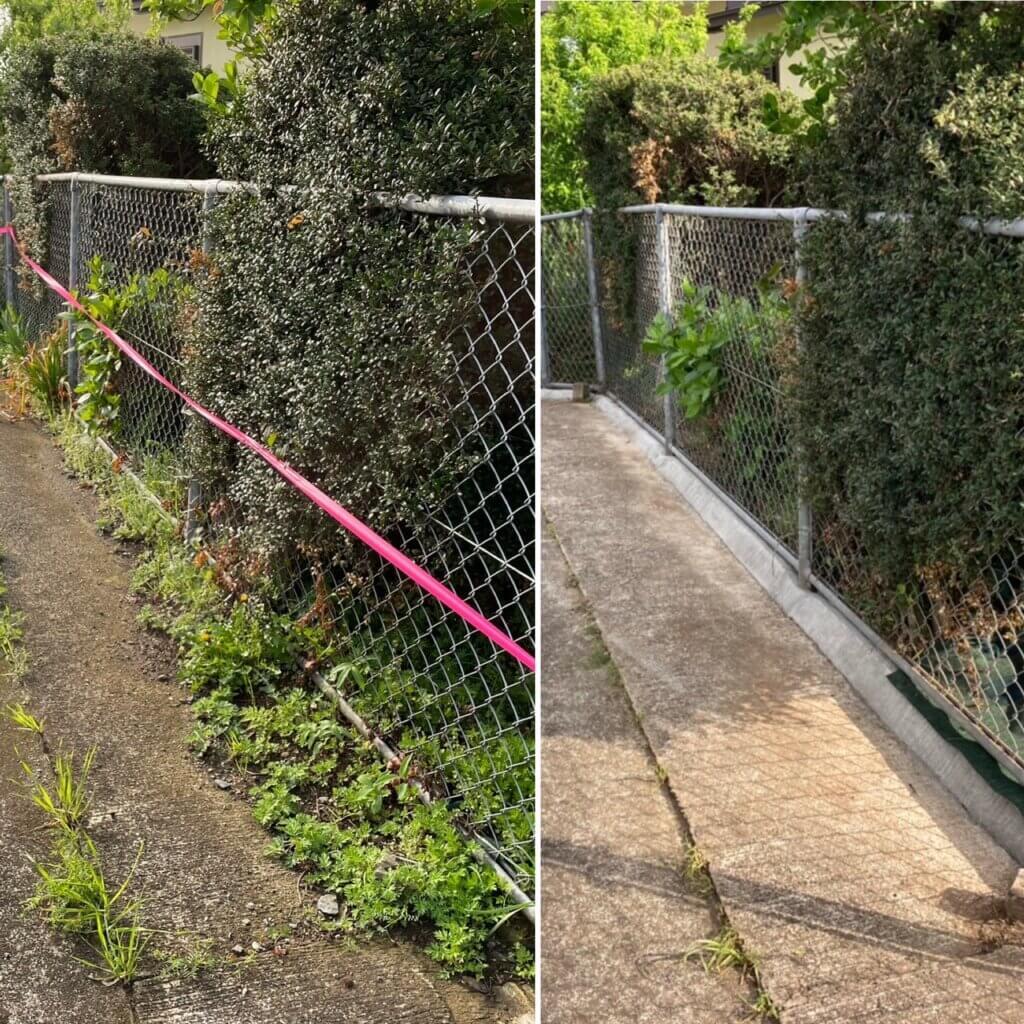 防草シート敷設作業と同時進行で行った土留めの設置。土の流出を防ぎ見栄えも良くなりました。